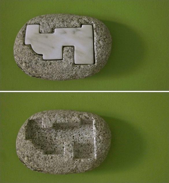 26 - Escultura de pared 6 - granito y mármol - 20x14x6cm aprox - Precio 90,00 €