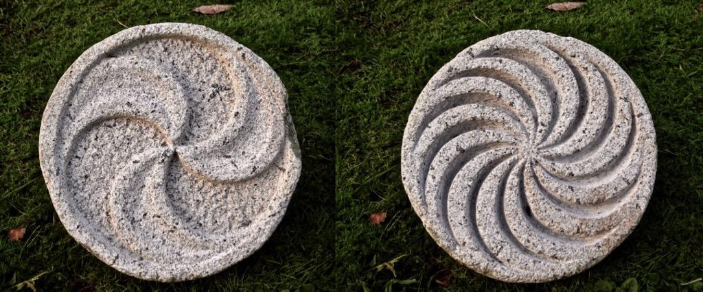 Trisquel tallado en piedra por ambas caras