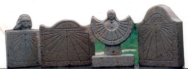 8 - Diversos ejemplos de relojes verticales sin gnomon - piedra granito